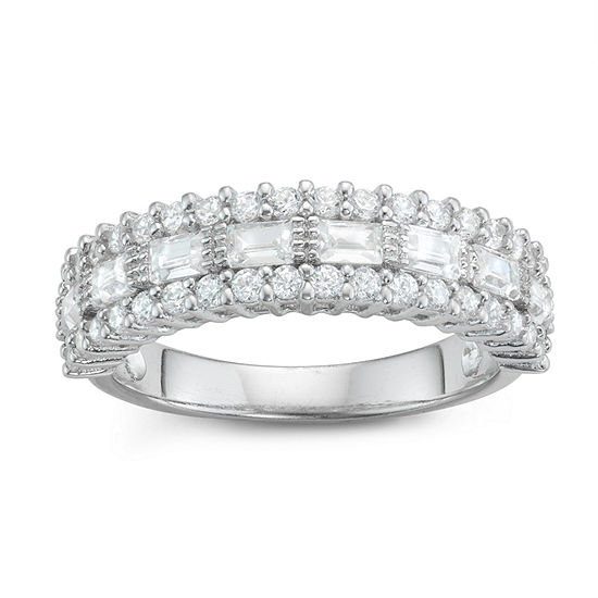Diamonart Womens 5MM 1 1/3 CT. T.W. Lab Created White Cubic Zirconia Sterling Silver Band