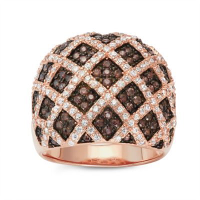 Diamonart Womens 2 CT. T.W. Brown Cubic Zirconia 14K Gold Over Silver Cocktail Ring