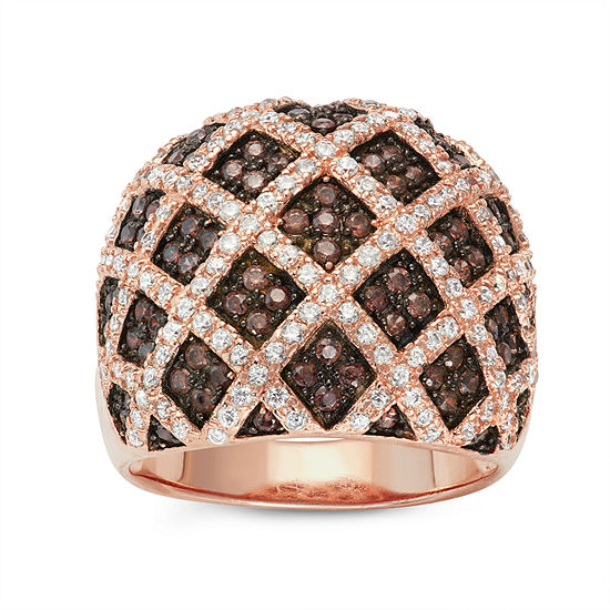 DiamonArt® Womens 2 CT. T.W. Lab Created Brown Cubic Zirconia 14K Gold Over Silver Cocktail Ring