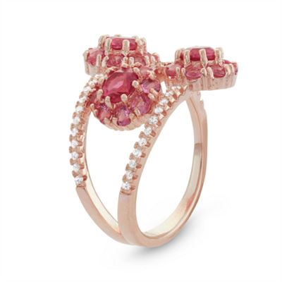 Diamonart Womens 2 1/4 CT. T.W. Lab Created Pink Cubic Zirconia 14K Gold Over Silver Cocktail Ring