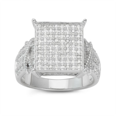 Diamonart Womens 1/4 CT. T.W. Lab Created White Cubic Zirconia Sterling Silver Cocktail Ring