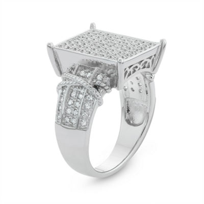 Diamonart Womens 1/4 CT. T.W. White Cubic Zirconia Sterling Silver Cocktail Ring