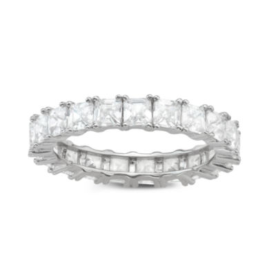Diamonart Womens 3mm Diamond Accent Lab Created White Cubic Zirconia Sterling Silver Band