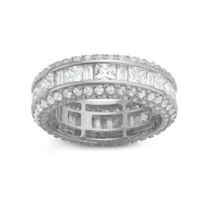 Diamonart Womens 4 CT. T.W. Lab Created White Cubic Zirconia Sterling Silver Band