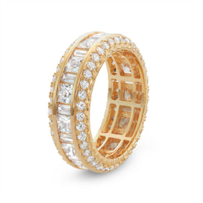 Diamonart Womens 4 CT. T.W. White Cubic Zirconia 14K Gold Over Silver Band