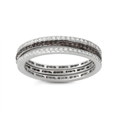 Diamonart Womens 1/4 CT. T.W. Lab Created Brown Cubic Zirconia Sterling Silver Band