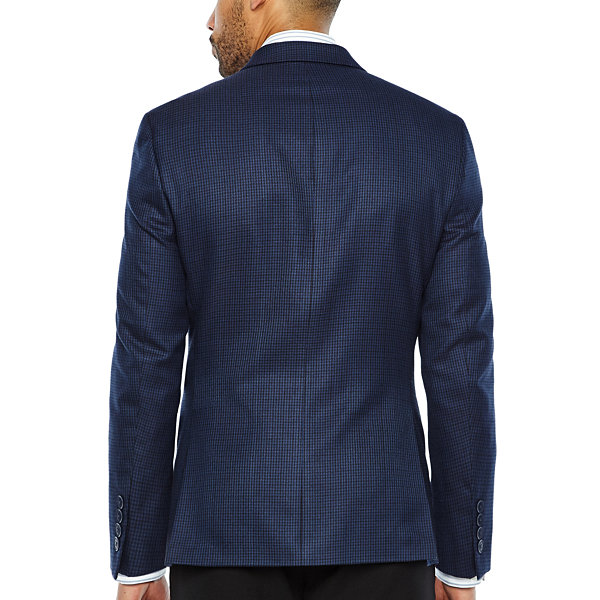 Collection by Michael Strahan Blue Black Houndstooth Classic Fit Woven Sport Coat