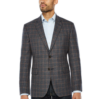 Stafford Merino Wool Sportcoat Blue Gray Rust Windowpane - Classic