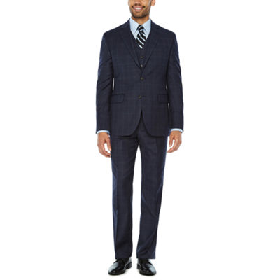 Stafford Travel Stretch Mid Blue Plaid Suit Separates-Classic