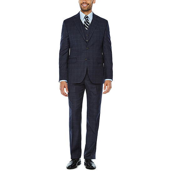 Stafford Travel Stretch Mid Blue Plaid Suit Separates Classic