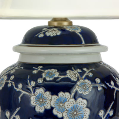 "Oriental Furniture 22"" Blue Cherry Blossom Table Lamp"