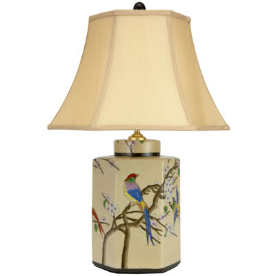Oriental Furniture Birds and Blossoms Porcelain Jar Table Lamp