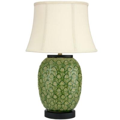 "Oriental Furniture 25"" Green Feather Design Porcelain Jar Table Lamp"""