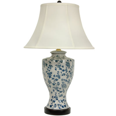 "Oriental Furniture 27"" Blue and White Flower VineLamp"""