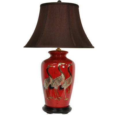 "Oriental Furniture 26"" Red Crowned Cranes Vase Table Lamp"""