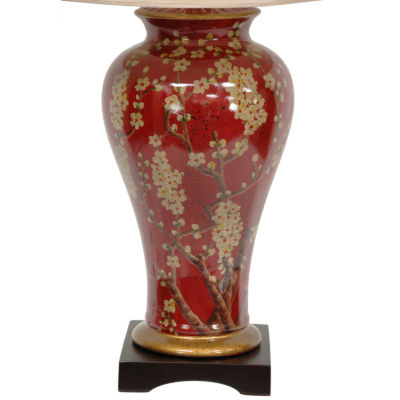 "Oriental Furniture 30"" Glazed Sakura Blossom VaseTable Lamp"""