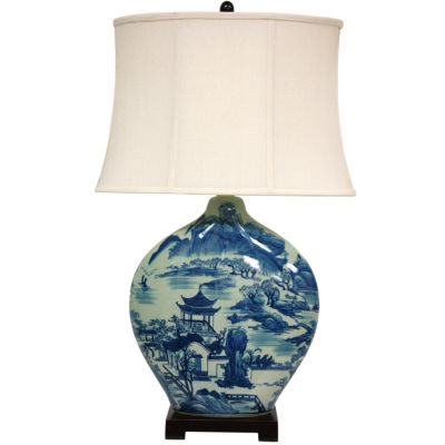 """Oriental Furniture 32"""" Blue and White Ming Landscape Vase Table Lamp"""""""