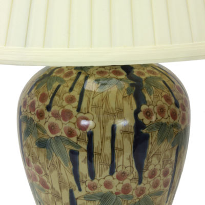 "Oriental Furniture 25"" Glazed Bamboo Blossom VaseTable Lamp"""