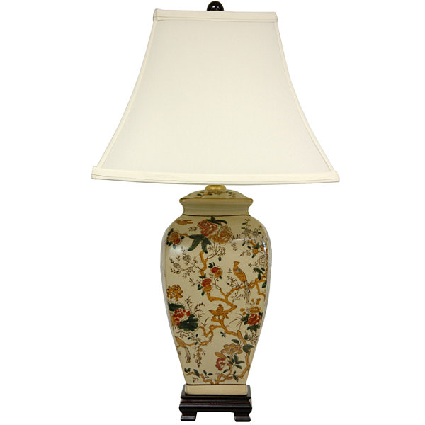 "Oriental Furniture 25"" Autumn Birds and Flowers Vase Table Lamp"""