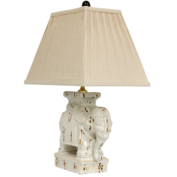 "Oriental Furniture 22"" Ivory Elephant Table Lamp"""