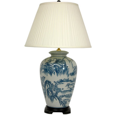 "Oriental Furniture 29"" Blue and White Chinese Landscape Lamp"""