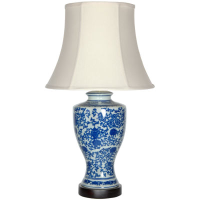 "Oriental Furniture 28"" Victorian Design PorcelainTable Lamp"""