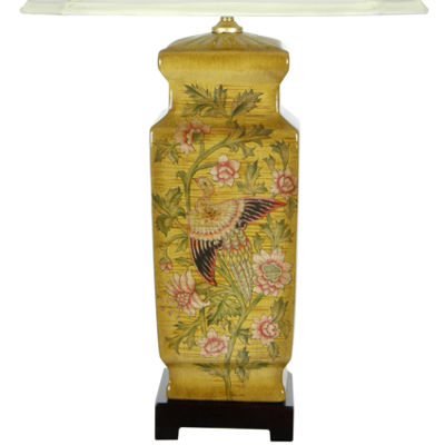 "Oriental Furniture 27.5"" Birds and Flowers WoodenDesign Porcelain Table Lamp"""