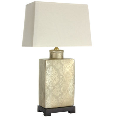 "Oriental Furniture 24"" Finch in the Blossoms Porcelain Table Lamp"""