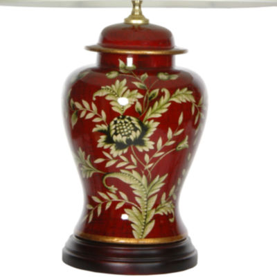 "Oriental Furniture 22.5"" Golden Foliage PorcelainTable Lamp"""
