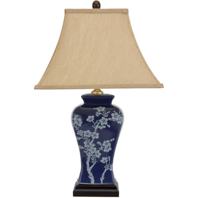 "Oriental Furniture 23"" Cherry Blossoms Blue Porcelain Jar Table Table Lamp"""