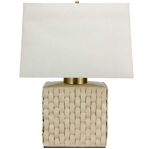 "Oriental Furniture 23"" Basket Weave Cream Porcelain Jar Table Table Lamp"""