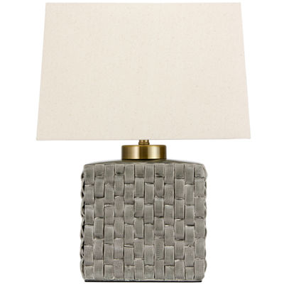 "Oriental Furniture 23"" Basket Weave Gray PorcelainJar Table Table Lamp"""