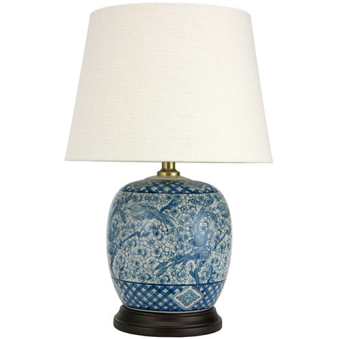 "Oriental Furniture 20"" Classic Blue & White Porcelain Jar Table Table Lamp"""