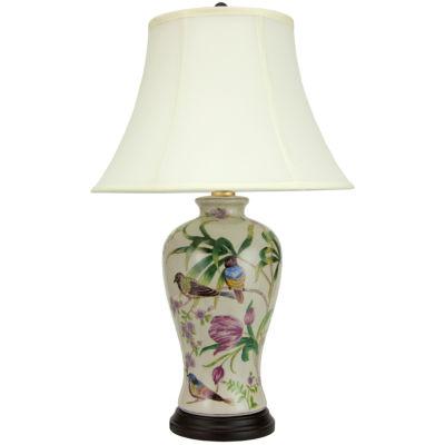 "Oriental Furniture 29"" Floral White Porcelain Table Lamp"""