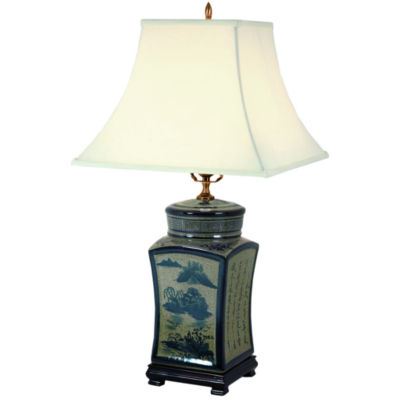 "Oriental Furniture 25"" Blue & White Chinese Calligraphy Porcelain Table Lamp"""