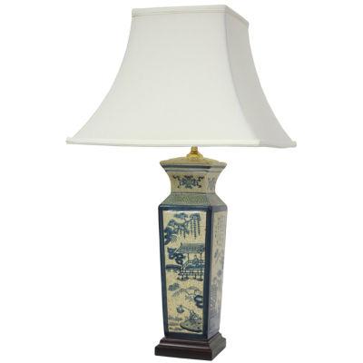 "Oriental Furniture 26"" Blue Landscape Porcelain Table Lamp"""