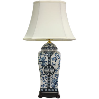 "Oriental Furniture 26"" Floral Blue & White Vase Table Lamp"""