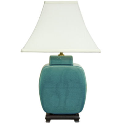 "Oriental Furniture 23"" Azure Porcelain Jar Table Lamp"""