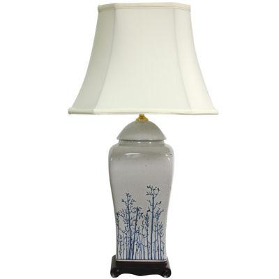 "Oriental Furniture 26"" Blue & White Spring ForestPorcelain Vase Table Lamp"""
