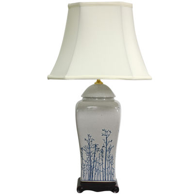 "Oriental Furniture 26"" Blue & White Spring ForestPorcelain Vase Table Lamp"""