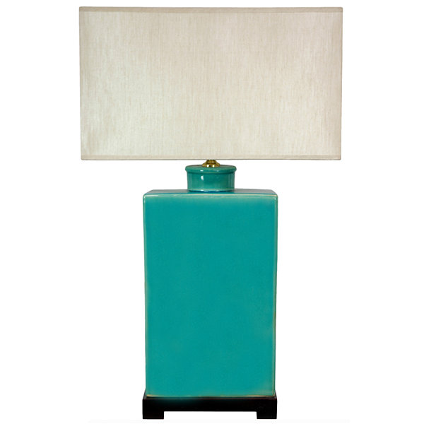 "Oriental Furniture 28"" Rectangular Turquoise TableLamp"""