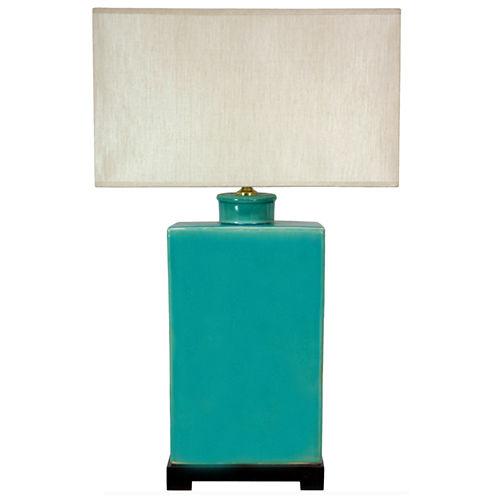 """Oriental Furniture 28"""" Rectangular Turquoise TableLamp"""""""