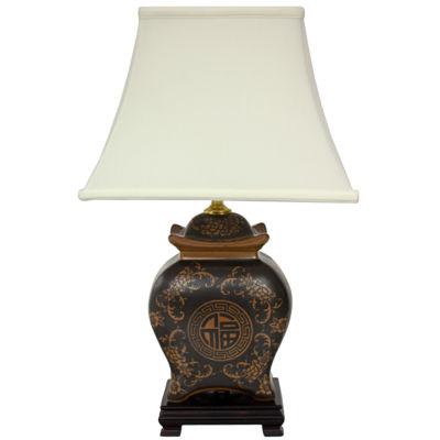 "Oriental Furniture 19"" Black & Brown Medallions Porcelain Table Lamp"""