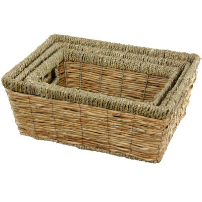 Oriental Furniture 3-pc. Hand Woven With Handles Basket Set