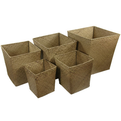 Oriental Furniture 5-pc. Hand Woven Natural Bin Basket Set