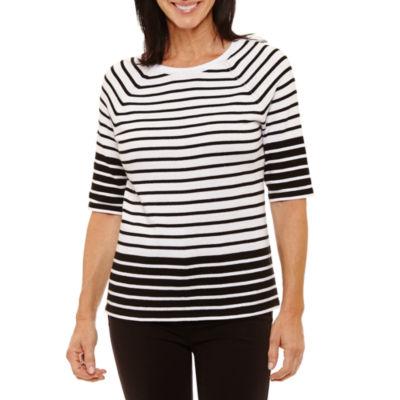 Sag Harbor-Womens Crew Neck 3/4 Sleeve T-Shirt