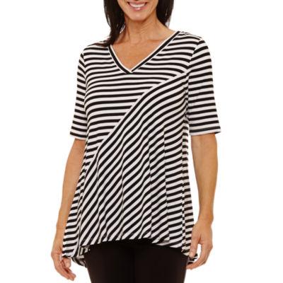 Sag Harbor 3/4 Sleeve V Neck Stripe T-Shirt-Womens