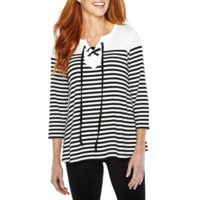 Sag Harbor Practice Gear 3/4 Sleeve Split Crew Neck Stripe T-Shirt-Womens