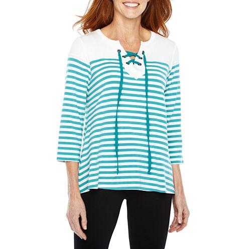 Sag Harbor Practice Gear 3/4 Sleeve Split Crew Neck Stripe T-Shirt-Womens