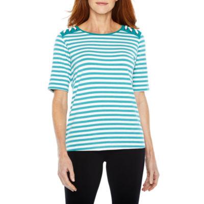 Sag Harbor Practice Gear Elbow Sleeve Crew Neck Stripe T-Shirt-Womens